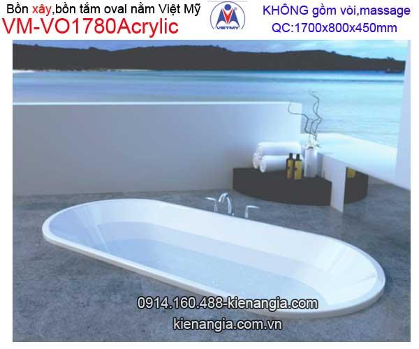 Bồn xây oval Acrylic Việt Mỹ VM-VO1780Acrylic