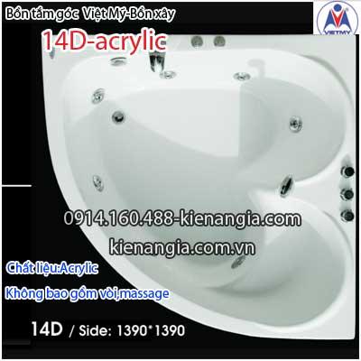 Bồn đôi  xây góc trái tim Việt Mỹ Acrylic VM14DAcrylic