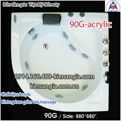 Bồn xây nhỏ,bồn tắm góc 0,9m Việt Mỹ Acrylic VM90GAcrylic