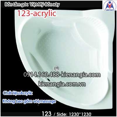 Bồn xây,bồn tắm góc nhỏ 1,2 mét Việt Mỹ Acrylic VM123Acrylic