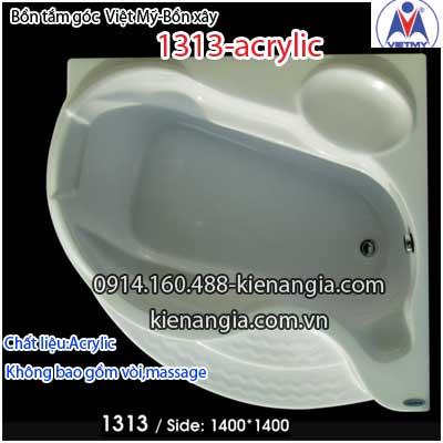 Bồn xây,bồn tắm góc nhỏ 1,3 mét Việt Mỹ Acrylic VM1313Acrylic