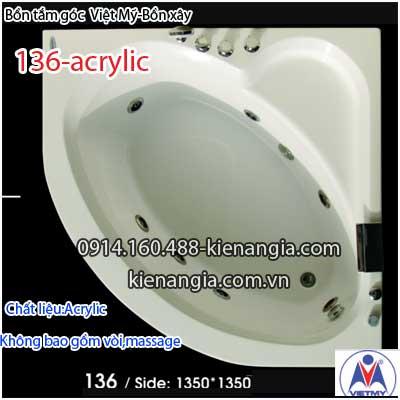 Bồn xây,bồn tắm góc nhỏ 1,3 mét Việt Mỹ Acrylic VM136Acrylic