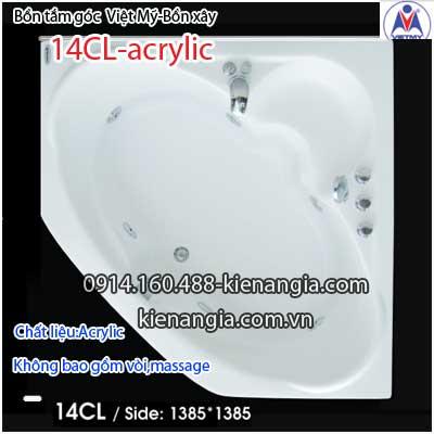 Bồn xây,bồn tắm góc 1,4 mét Việt Mỹ Acrylic VM14CLAcrylic