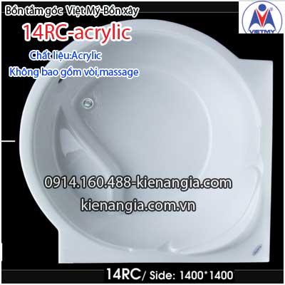 Bồn xây,bồn tắm góc 1,4 mét Việt Mỹ Acrylic VM14RCAcrylic