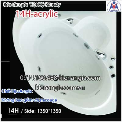 Bồn xây,bồn tắm góc 1,4 mét Việt Mỹ Acrylic VM14HAcrylic