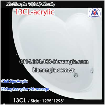 Bồn tắm góc xây acrylic Việt Mỹ 1,3 mét VM13CLAcrylic