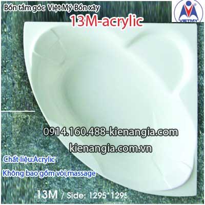 Bồn tắm góc xây acrylic Việt Mỹ 1,3 mét VM13MAcrylic