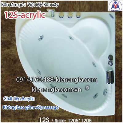 Bồn tắm góc xây acrylic Việt Mỹ 1,2 mét VM12SAcrylic