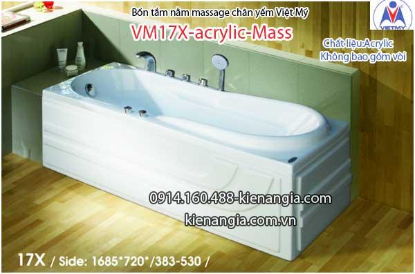 Bồn tắm dài massage acrylic 1,7m Việt Mỹ 17X