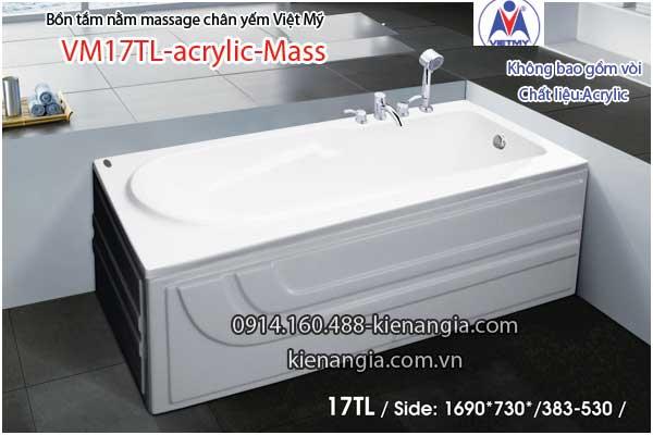 Bồn tắm dài massage acrylic 17m Việt Mỹ 17TL
