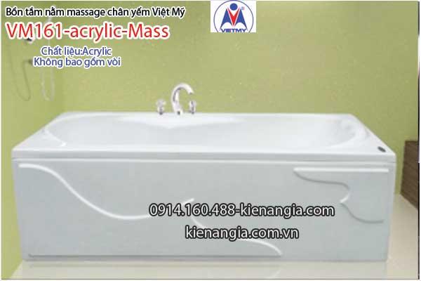 Bồn tắm dài massage acrylic 1,6m Việt Mỹ 161
