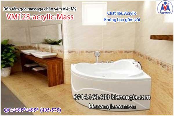 Bồn tắm massage góc 1,2m acrylic Việt Mỹ chân yếm 123-Massage