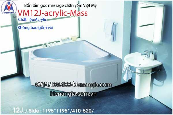 Bồn tắm massage góc 1,2m acrylic Việt Mỹ chân yếm 12J-Massage