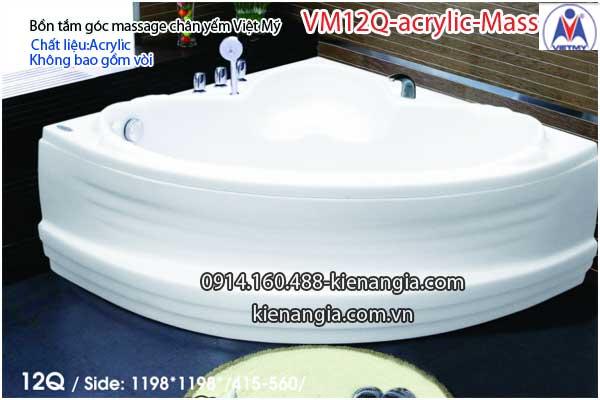 Bồn tắm massage góc 1,2m acrylic Việt Mỹ chân yếm 12Q-Massage