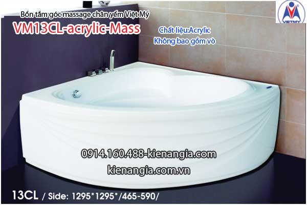Bồn tắm massage góc 1,3m acrylic Việt Mỹ chân yếm 13CL-Massage