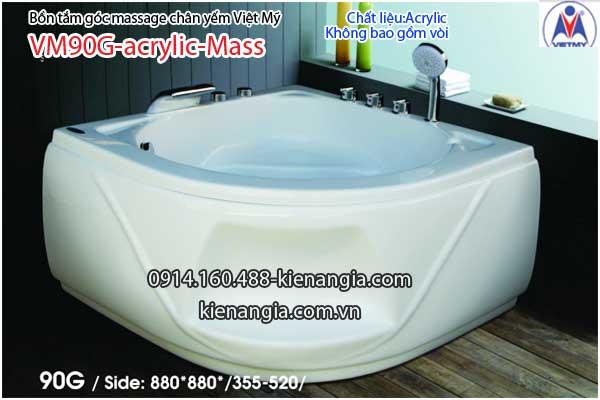 Bồn tắm massage góc 10.9m acrylic Việt Mỹ chân yếm 90G-Massage