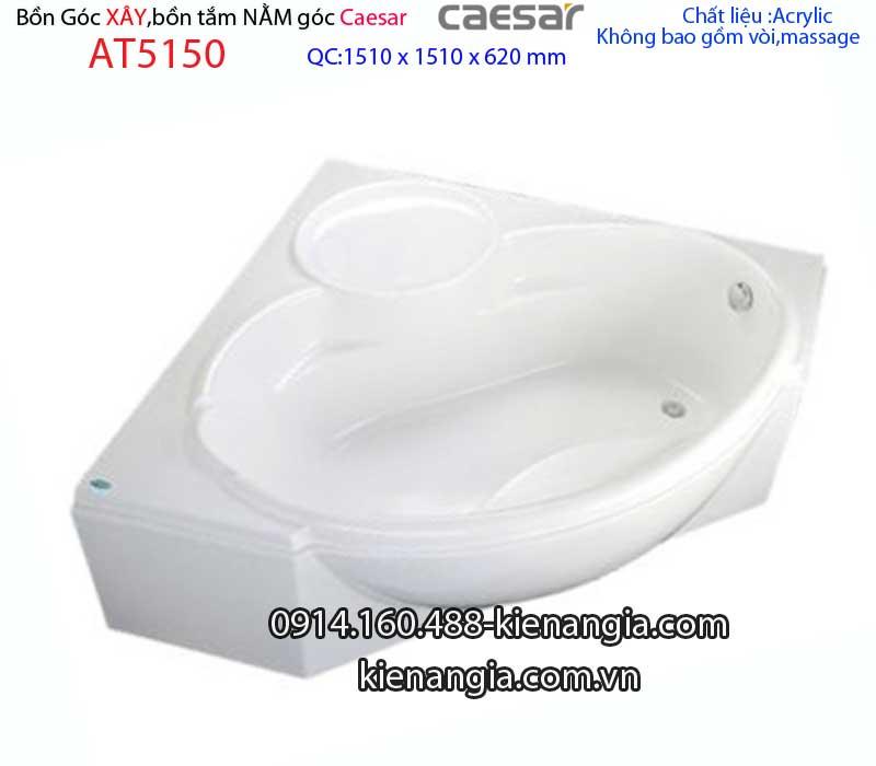 Bồn tắm góc chân yếm 1,5 mét Caesar-AT5150