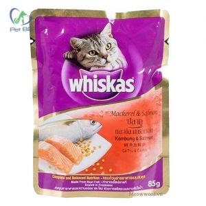 Pate cho mèo lớn Whiskas cá thu & cá hồi 85g