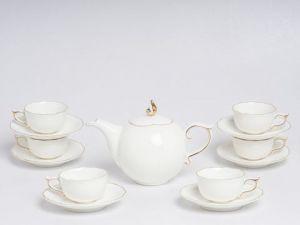 Bộ trà 0.7L - Mẫu Đơn IFP - Viền Chỉ Vàng