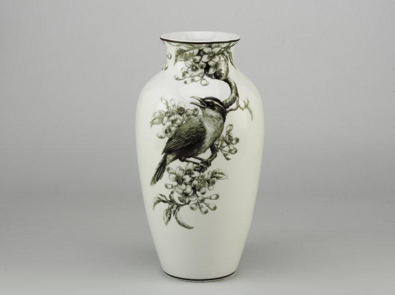 Bình hoa 27cm - Họa Mi & Hoa Bưởi - Trắng Đen