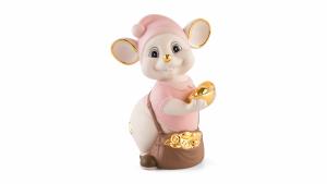 Chuột Quý 16 cm (màu Matt) - Hồng - Họa tiết trang trí vàng 24K