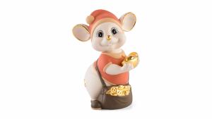 Chuột Quý 16 cm (màu Matt) - Cam - Họa tiết trang trí vàng 24K