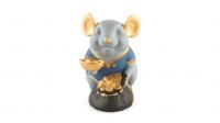 Chuột Phú 13 cm (màu Matt) - Xanh dương - Họa tiết trang trí vàng 24K