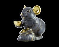 Chuột Phú 8 cm - Màu xám - Trang trí vàng 24K