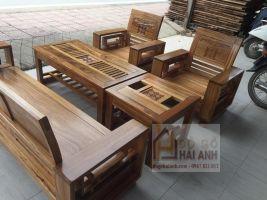 Bàn ghế Phòng khách tay 14 tựa cong gỗ hương xám