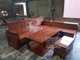 Sofa góc gỗ sồi nga tay nghiêng