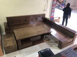 Sofa góc gỗ sồi nga tay nghiêng màu óc chó