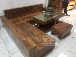 Sofa góc hộp nguyên khối gỗ hương xám