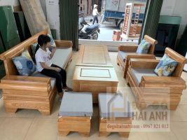 Bàn ghế phòng khách Pháo Đài gỗ sồi màu đinh hương