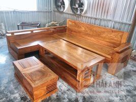 Sofa góc gỗ hương vàng