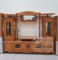 Kệ tivi gỗ Sồi Nga 2m Kiểu 2 cột kính