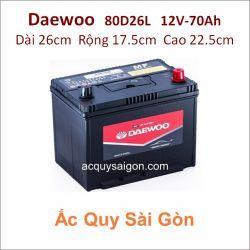 Ắc quy Daewoo 12V 70Ah 80D26L (NX110-5L)