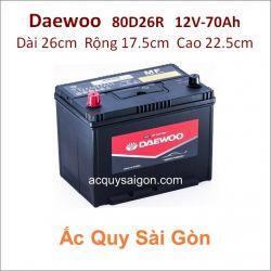 Ắc quy Daewoo 12V 70Ah 80D26R (NX110-5R)