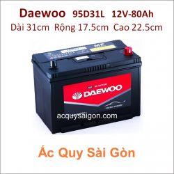 Ắc quy Daewoo 12V 80Ah 95D31L (N70LP)