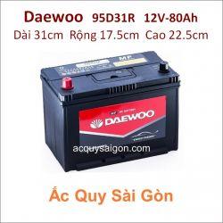 Ắc quy Daewoo 12V 80Ah 95D31R (N70RP)