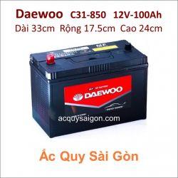 Ắc quy Daewoo 12V/100Ah C31-850 Cọc chì