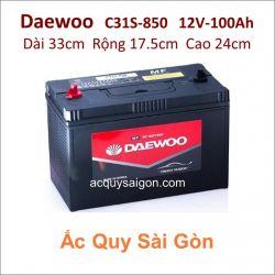 Ắc quy Daewoo 12V/100Ah C31S-850 Cọc bulon