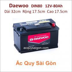 Ắc quy Daewoo 12V 80Ah Din80 (58014)