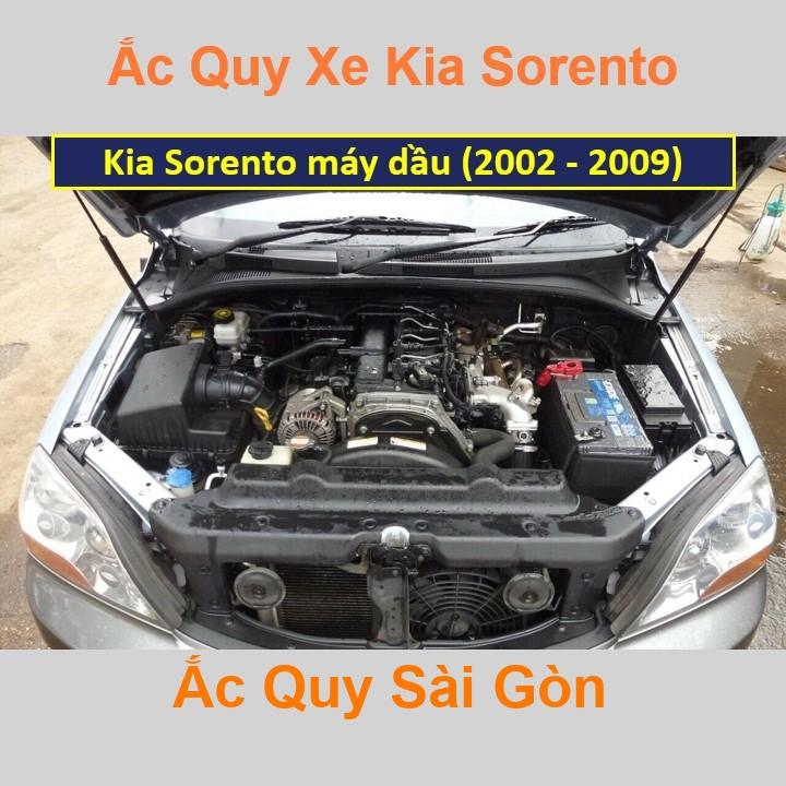 Vị trí bình ắc quy Kia Sorento máy dầu (2002 - 2009) ở dưới nắp ca pô, bình nằm dọc, phía trước, bên tài.