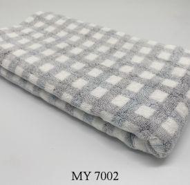 Khăn Tắm Kẻ Cotton Mỹ - Ghi caro (70x140 - 350gr)