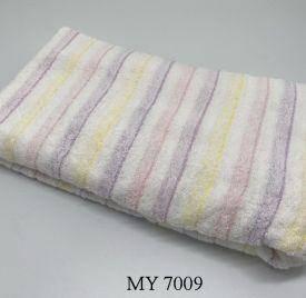 Khăn Tắm Kẻ Cotton Mỹ - Sọc vàng tím (70x140 - 350gr)