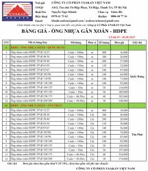 Bảng giá HDPE - Usakan 01.04.2020