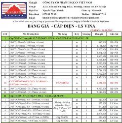 Cáp 24kV LS Vina - Bảng giá Usakan 01.04.2020