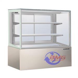 Tủ lạnh bày bánh kính vuông 2 tầng Berjaya - Stainless steel base