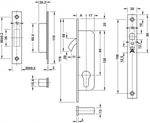 Thân Khóa Cửa Trượt Đố Nhỏ BS 30mm Hafele 911.26.672