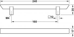 Tay Nắm Tủ H1740 Dài 240mm Hafele 106.62.636